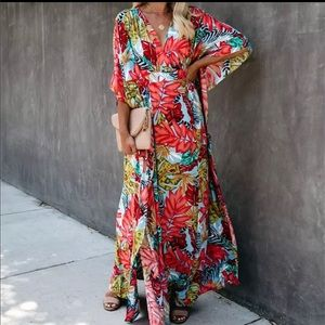 Tropical Print Kimono Cover Up NEW